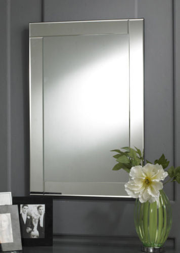 Modern Rectangular Clear Glass Bordered Wall Mirror-Art Deco Mirror-Chic Concept