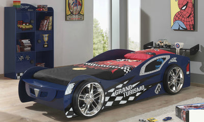New Kids Toddler Blue 3FT Single Novelty Gran Turbo Racing Car Bed & Mattress - FREE PILLOW COVER & QUILT COVER-Children's Bed-Chic Concept
