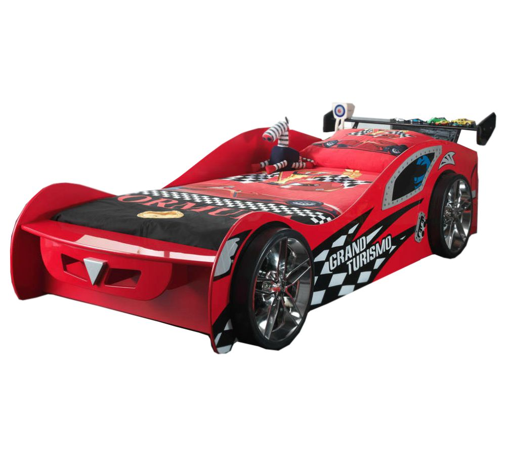 New Kids Toddler Red 3ft Single Novelty Gran Turbo Racing Car Bed