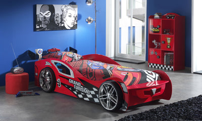 New Kids Toddler Red 3FT Single Novelty Gran Turbo Racing Car Bed & Mattress - FREE PILLOW COVER & QUILT COVER-Children's Bed-Chic Concept