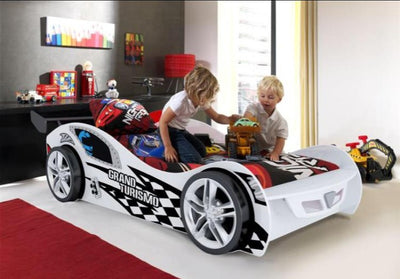 New Kids Toddler White 3FT Single Novelty Gran Turbo Racing Car Bed & Mattress - FREE PILLOW COVER & QUILT COVER-Children's Bed-Chic Concept