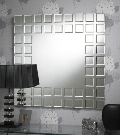 Modern Contemporary Clear Borders Squares Bevelled Wall Mirror-Art Deco Mirror-Chic Concept
