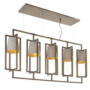 Hurricane Antique Brass 5 Light Long Chandelier-Chandelier-Chic Concept