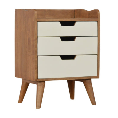 Bedside with 3 White Hand Painted Cut-Out Drawers-Bedside Cabinet-Chic Concept