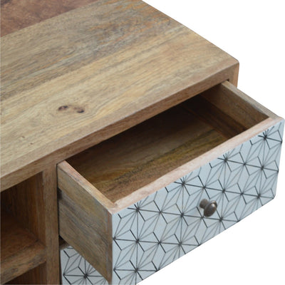 2 Drawer Geometric Screen Printed Media Unit-TV Unit-Chic Concept