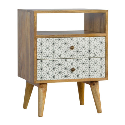 2 Drawer Geometric Screen-Printed Bedside with Open Slot-Bedside Cabinet-Chic Concept