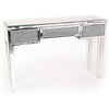 Glitz Mirrored Diamante One Drawer Dressing Table-Mirrored Furniture-Chic Concept