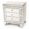 Glitz Mirrored Diamante 3 Drawer Bedside Table-Mirrored Furniture-Chic Concept