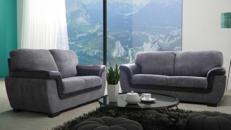 Awesome Valencia Sofa   2 Seater And 3 Seater Set In Grey Chenille Fabric Sofa