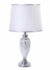 Valentina Silver Crushed Mosaic Base & Double Silver / White Shade-Table Lamp-Chic Concept