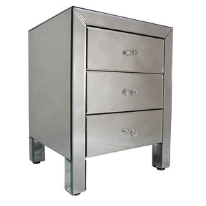 Large Mirrored Bedside Table Cabinet with 3 Drawers-Mirrored Furniture-Chic Concept