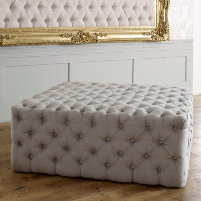 Large Square Chesterfield Buttoned Fabric Upholstered Fixed Bench/ Stool / Seat-Footstool-Chic Concept