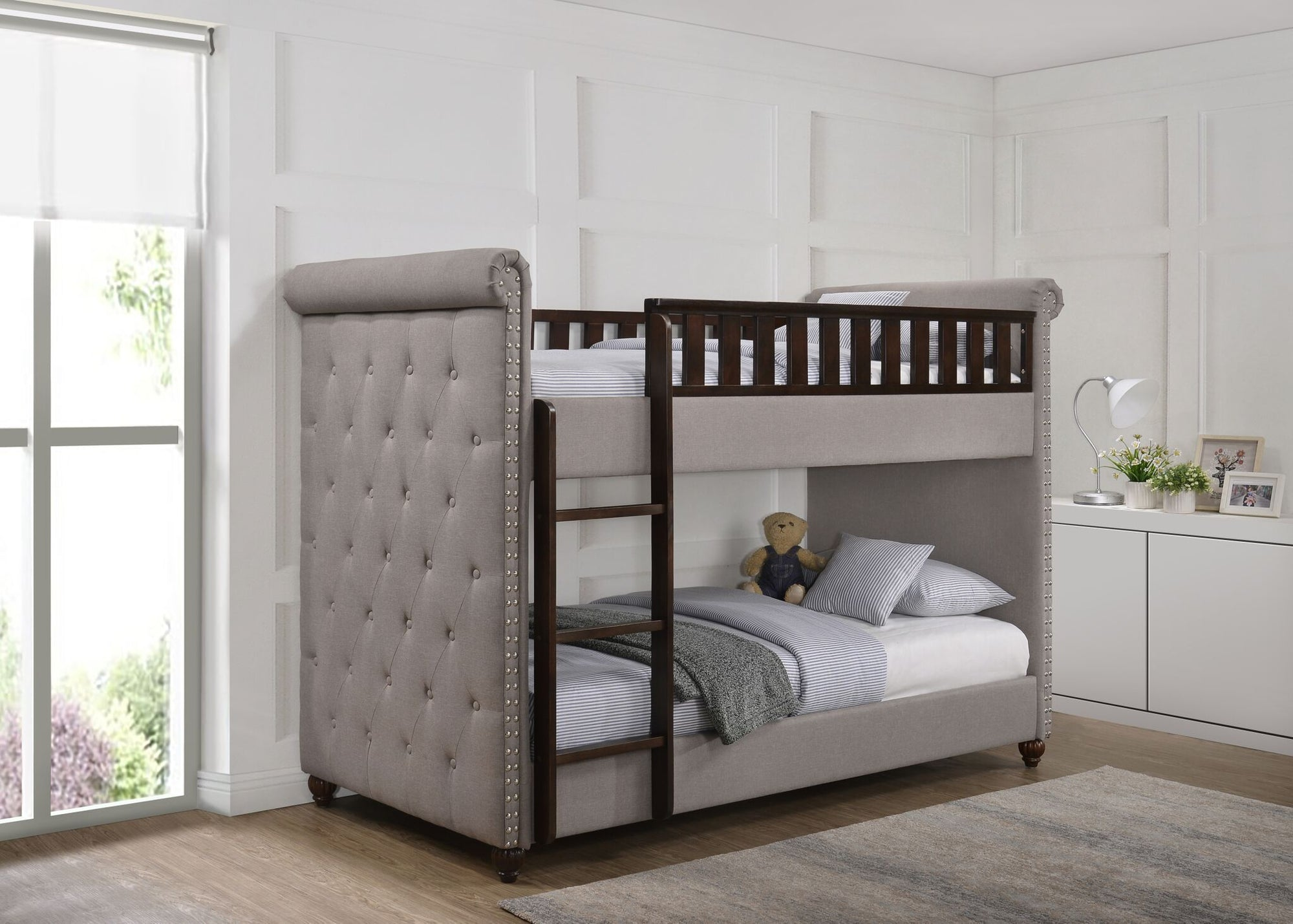 Ava Childrens Light Grey Linen Fabric Chesterfield Bunk Bed Chic