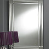 Modern Rectangular Clear Border Four Squares Bevelled Wall Mirror-Art Deco Mirror-Chic Concept