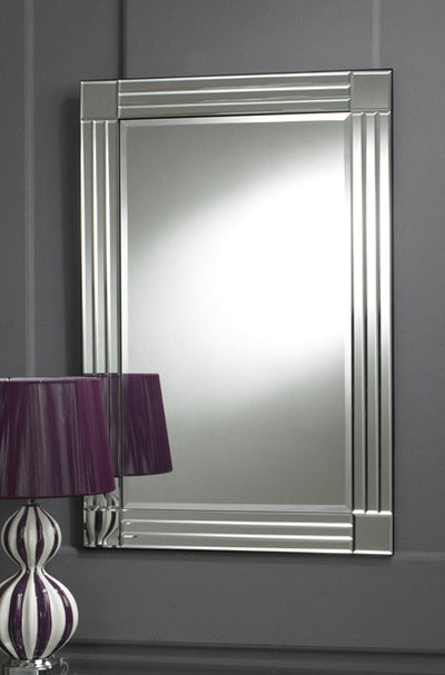 Clear Border Four Squares Bevelled Wall Mirror