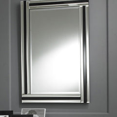 Black & Clear Rectangular Strip Wall Mirror