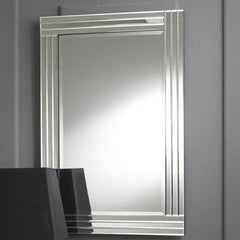 Modern Rectangular Clear Triple Bevelled Bordered Wall Mirror-Art Deco Mirror-Chic Concept