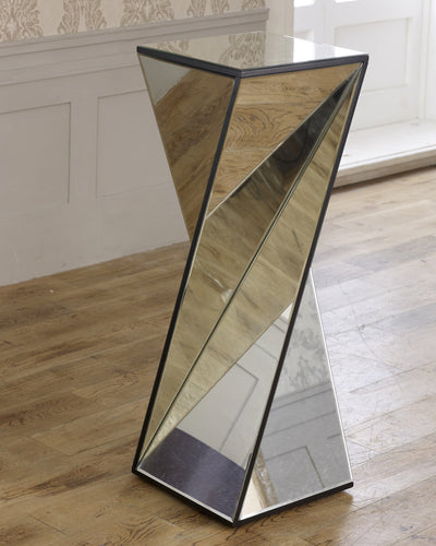 Large Mirrored Glass Twisted Phoenix Pedestal Table-Mirrored Furniture-Chic Concept