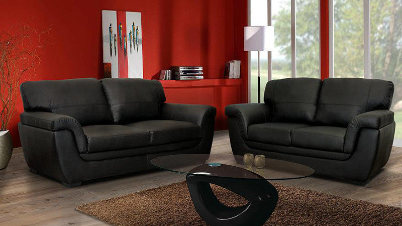 Superior Valencia Sofa   2 Seater And 3 Seater Set In Black PU Leather Leather Sofa