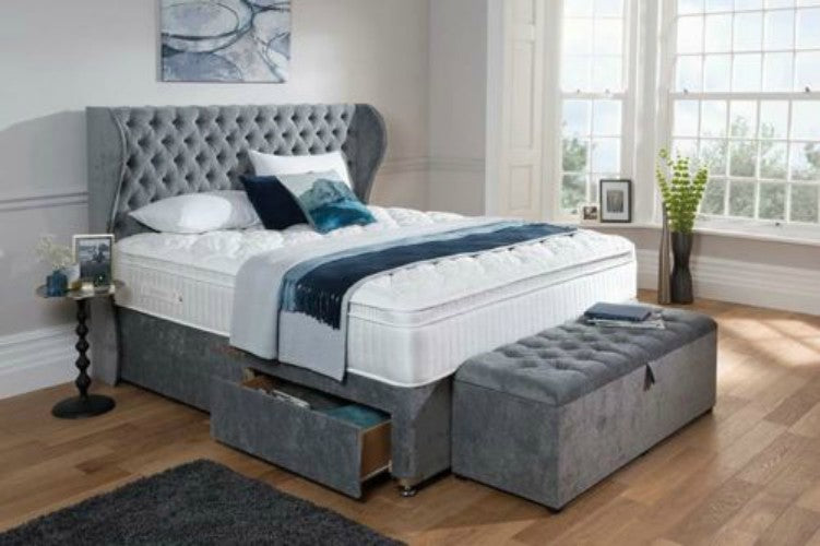 Solitaire Chesterfield Wing Bespoke Divan Storage Bed-Bed-Chic Concept & Solitaire Chesterfield Wing Bespoke Divan Storage Bed - Chic Concept