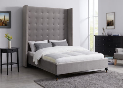 Modern Melrose Buttoned Grey Velvet Fabric Sleigh Bed-Sleigh Bed-Chic Concept