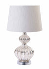 Mercury Silver Acrylic Chrome Base Table Lamp with Light Grey Shade-Table Lamp-Chic Concept