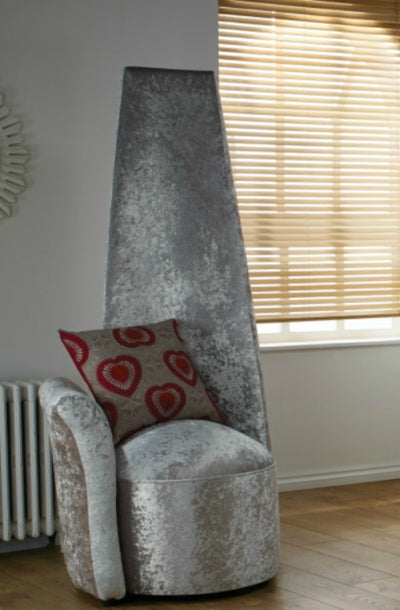 Bespoke High Back Funky Potenza Crushed & Plain Velvet Chair UK Made-Potenza Chair-Chic Concept