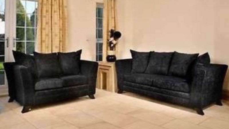 Windsor Fabric Sofa   2 Seater And 3 Seater Set In Black Crushed  Velvet Fabric