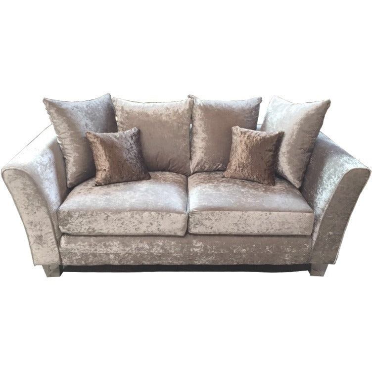 Windsor Fabric Sofa   2 Seater And 3 Seater Set In Silver Crushed  Velvet Fabric