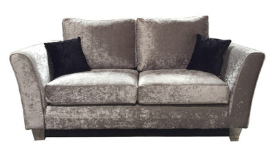 Windsor Fabric Sofa - 2 Seater and 3 Seater Set in Silver Crushed Velvet-Fabric Sofa-Chic Concept