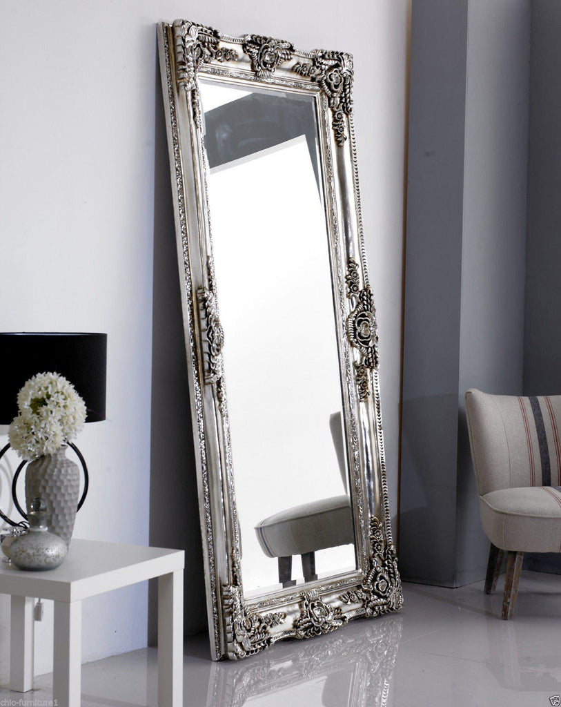 Large Rocco Leaner Silver Ornate Wall Mirror