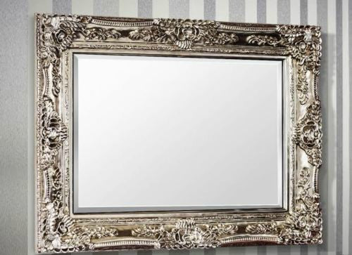 Rectangular Rocco Silver Ornate Wall Mirror Chic Concept