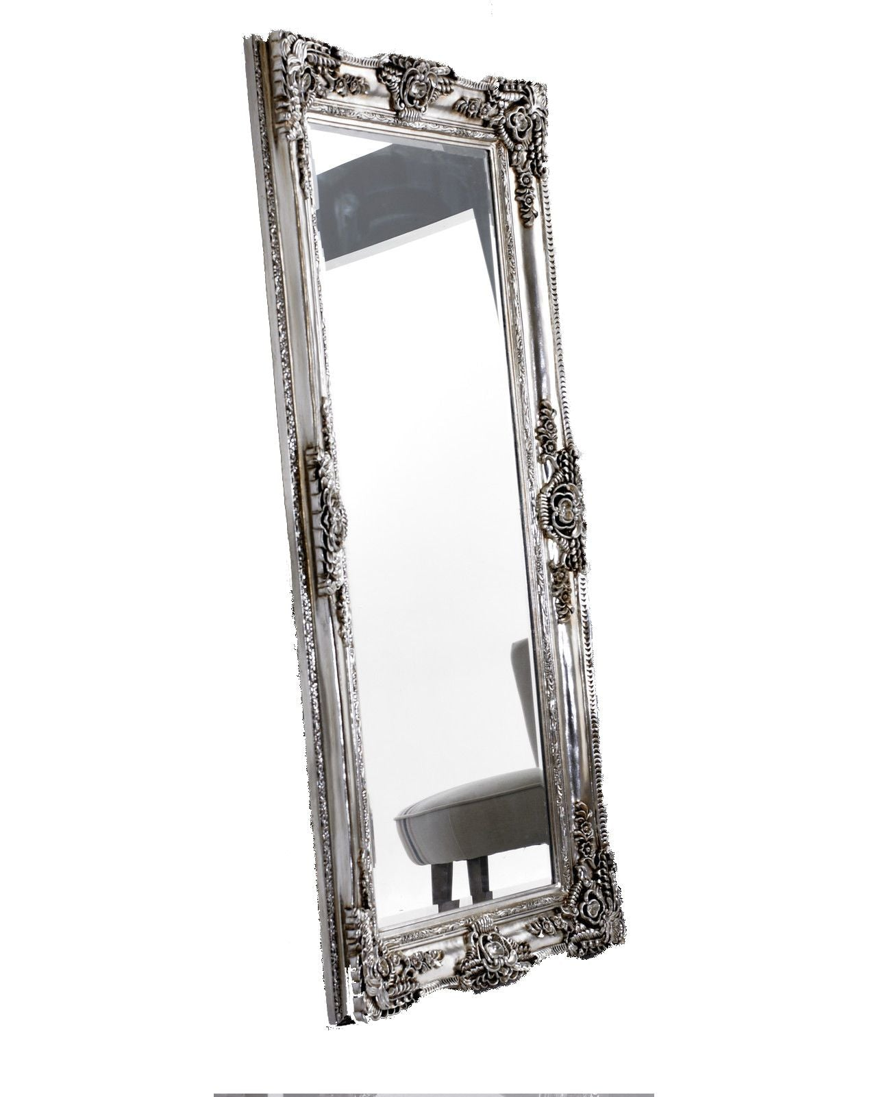 Large Rococo Leaner Silver Ornate Wall Mirror Chic Concept