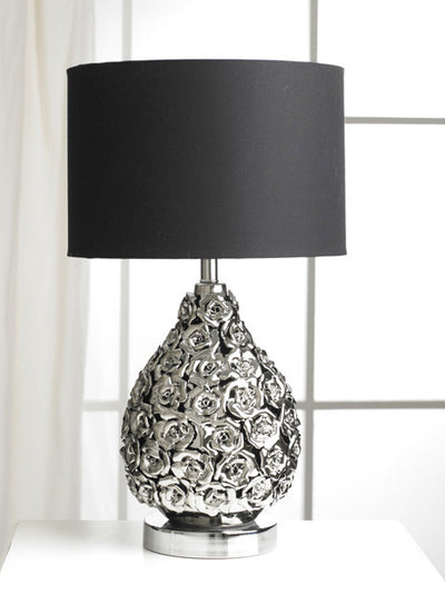 Modern Rose Flower Bomb Black & Silver Table Lamp-Table Lamp-Chic Concept