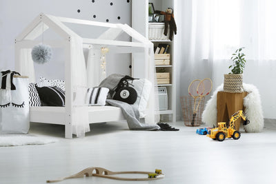 Luca 3FT Single Boys & Girls White Wooden Tree House Canopy Bed-Bunk Bed-Chic Concept