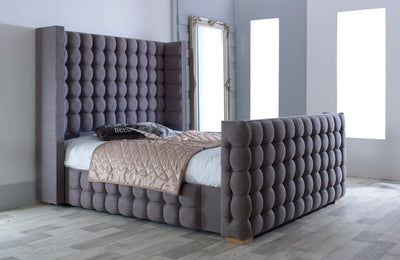 Cubic Wingback Bespoke Sleigh Bed-Bed-Chic Concept