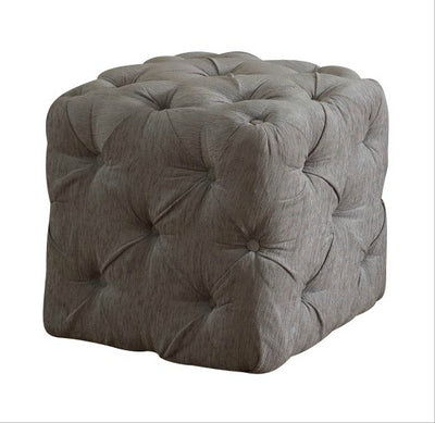 Chesterfield Buttoned Upholstered Cube Stool-Footstool-Chic Concept