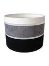 "11"" Black Grey White Faux Suede Stripe Drum Shade-Lamp Shades-Chic Concept"