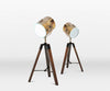 Vintage Metal Wood Small Tripod Floor Standing Table Lamp