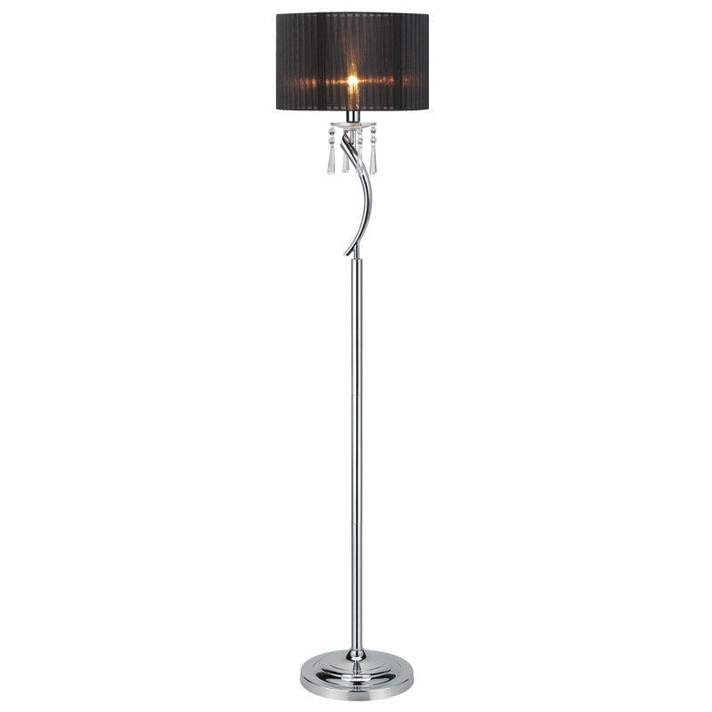 Porto Tall Chrome Metal Floor Lamp with Black Shade-Floor Lamp-Chic Concept
