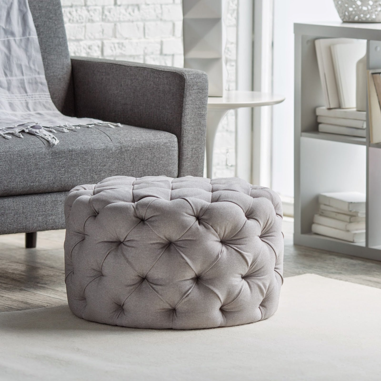 Round Chesterfield Buttoned Fabric Upholstered Stool