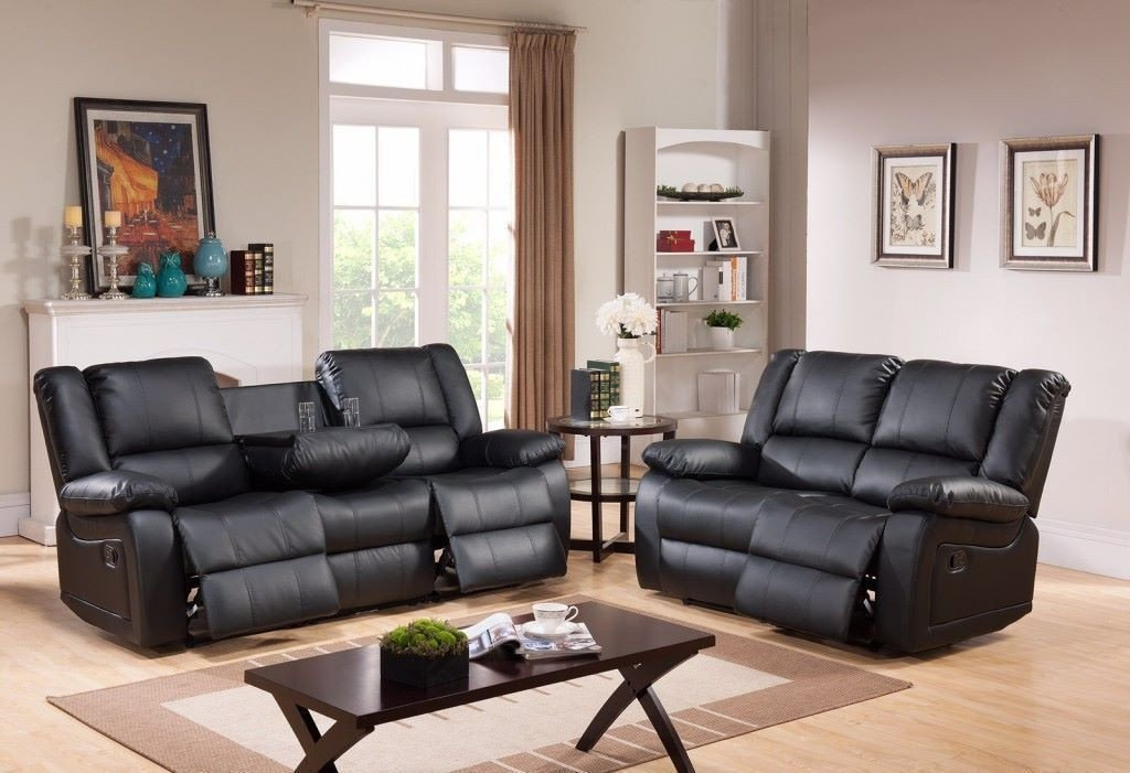 Modern Toronto Black Leather 3 Seater and 2 Seater Recliner Sofa Set with Drink Holder