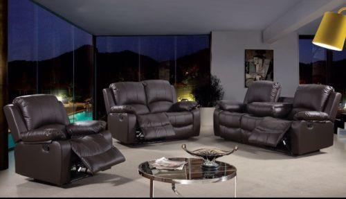 Modern Toronto Brown Leather 3 Seater and 2 Seater Recliner