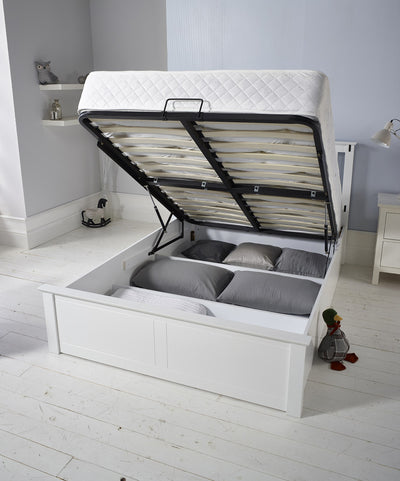 Stanley White Wooden Storage Ottoman Bed-Wooden Bed-Chic Concept