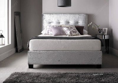 Walkworth Silver Crushed Velvet Ottoman Storage Bed-Ottoman Bed-Chic Concept