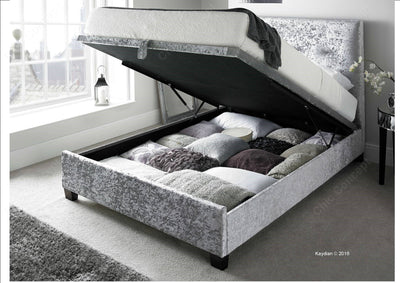 4FT6 Double-Walkworth Crushed Velvet Silver Ottoman Storage Bed-Ottoman Bed-Chic Concept