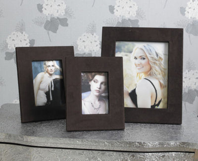 Contemporary Brown Faux Suede Photo Frames-Accessories-Chic Concept