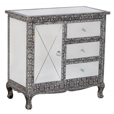 Mirrored Chaandhi Kar Blackened Silver Metal Embossed Cabinet with Drawers-Mirrored Furniture-Chic Concept