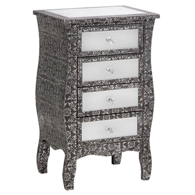 Mirrored Chaandhi Kar Blackened Silver Metal Embossed Chest of Drawers-Mirrored Furniture-Chic Concept