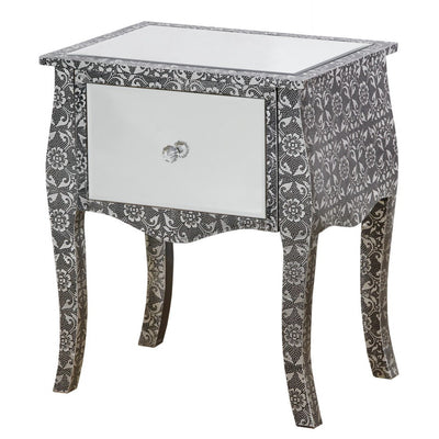 Mirrored Chaandhi Kar Blackened Silver Metal Embossed Bedside Table-Mirrored Furniture-Chic Concept